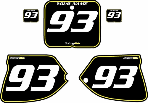 1993-1995 Suzuki RM125 Pre-Printed Backgrounds Black - Yellow Pinstripe by FactoryRide