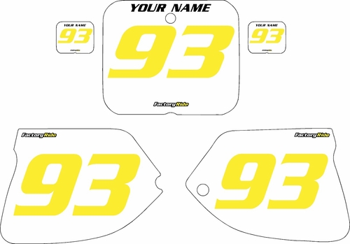 1993-1995 Suzuki RM125 Pre-Printed Backgrounds White - Yellow Numbers by FactoryRide