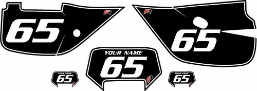 1992-2009 Honda XR650L Black Pre-Printed Backgrounds - White Pinstripe by FactoryRide