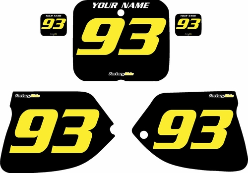 1993-1995 Suzuki RM125 Pre-Printed Backgrounds Black - Yellow Numbers by FactoryRide