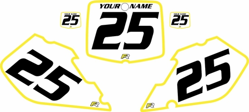 1999-2000 Suzuki RM125 Pre-Printed Backgrounds White - Yellow Bold Pinstripe by FactoryRide