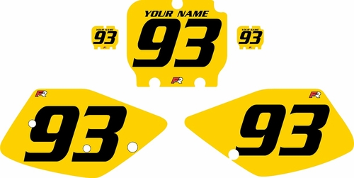 1992-1993 Kawasaki KX125 Custom Pre-Printed Yellow Background - Black Numbers by Factory Ride