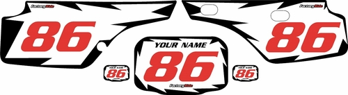 1986-1995 Honda XR250 Pre-Printed Backgrounds White - Black Shock - Red Numbers by FactoryRide