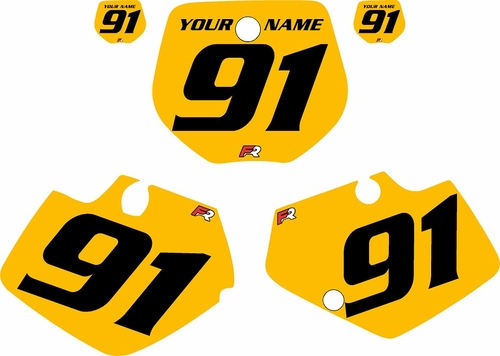1991-1992 Yamaha YZ125 Custom Pre-Printed Yellow Background - Black Numbers by Factory Ride