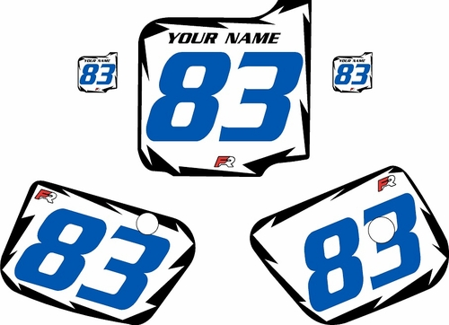 1983 Husqvarna CR125 Pre-Printed Backgrounds White - Black Shock - Blue Numbers by FactoryRide
