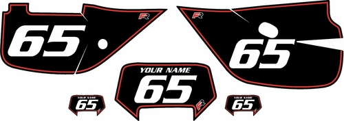1992-2009 Honda XR650L Custom Black Pre-Printed Background - Red Pinstripe by Factory Ride