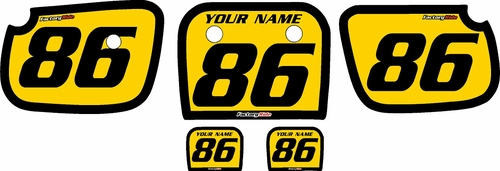 1986-2004 Kawasaki KX60 Custom Pre-Printed Background Yellow - Black Bold Pinstripe by Factory Ride