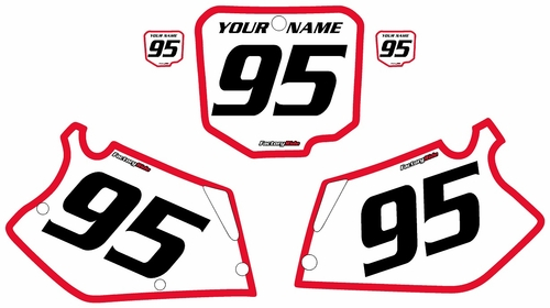 1995-1997 Honda CR125 Pre-Printed Backgrounds White - Red Bold Pinstripe by FactoryRide