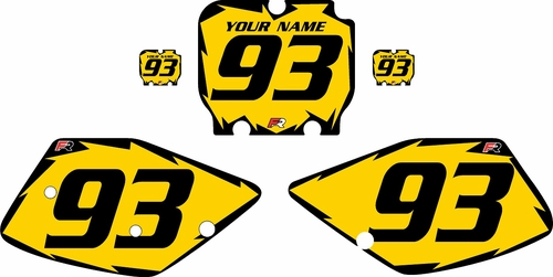 1992-1993 Kawasaki KX125 Custom Pre-Printed Yellow Background - Black Shock Series by Factory Ride