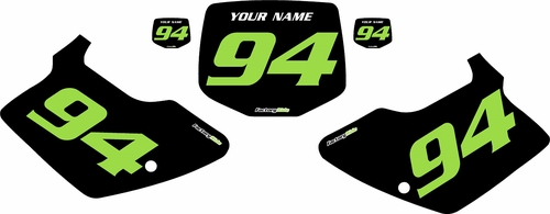 1994-1998 Kawasaki KX250 Pre-Printed Backgrounds Black - Green Numbers by FactoryRide