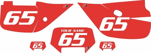 1992-2009 Honda XR650L Pre-Printed Backgrounds Red - White Numbers by Factory Ride