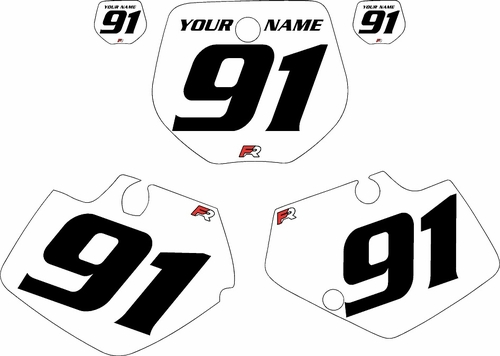 1991-1992 Yamaha YZ125 Custom Pre-Printed White Background - Black Numbers by Factory Ride