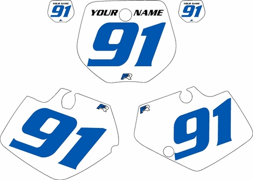 1991-1992 Yamaha YZ125 Custom Pre-Printed White Background - Blue Numbers by Factory Ride