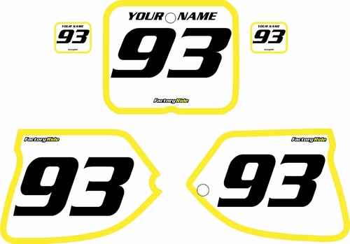 1993-1995 Suzuki RM250 Pre-Printed Backgrounds White - Yellow Bold Pinstripe by FactoryRide