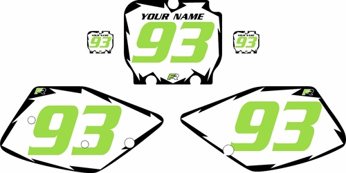 1992-1993 Kawasaki KX125 Pre-Printed White Background - Black Shock Series - GreenNumber by Factory Ride