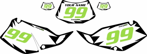 1993-1996 Kawasaki KLX 300 Pre-Printed White Background - Black Shock Series - Green Number by Factory Ride