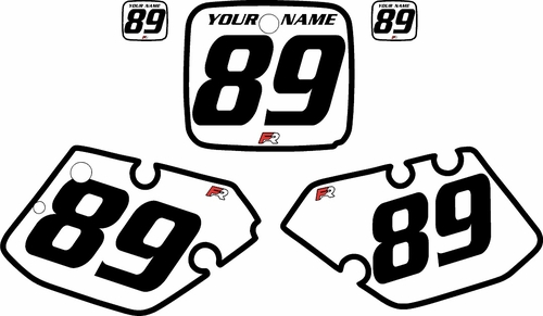 1989-1990 Yamaha YZ250 Custom Pre-Printed White Background - Black Bold Pinstripe by Factory Ride