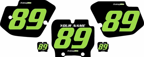 1989-1995 Kawasaki KX500 Pre-Printed Backgrounds Black - Green Numbers by FactoryRide