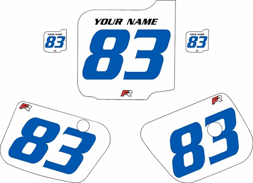 1983 Husqvarna CR250 Custom Pre-Printed Background White - Blue Numbers by Factory Ride