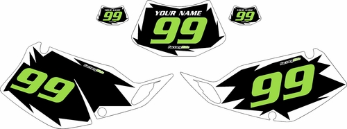 1993-1996 Kawasaki KLX 300 Pre-Printed Black Background - White Shock Series - Green Number by Factory Ride