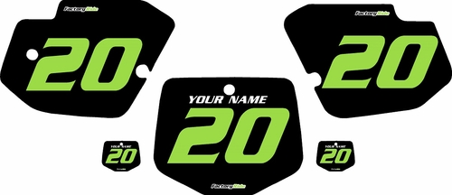 1996-2004 Kawasaki KX500 Pre-Printed Backgrounds Black - Green Numbers by FactoryRide