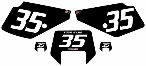 1990-2001 Suzuki DR350 Black Pre-Printed Backgrounds - White Numbers by Factory Ride