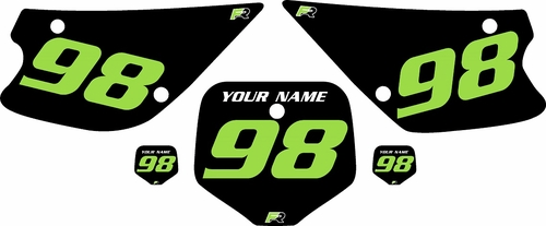 1998-2000 Kawasaki KX80 Pre-Printed Backgrounds Black - Green Numbers by FactoryRide