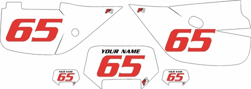 1992-2009 Honda XR650L Custom White Pre-Printed Background - Red Numbers by Factory Ride