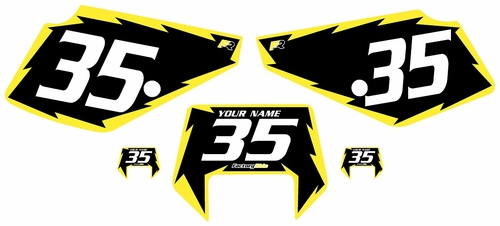 1990-2001 Suzuki DR350 Pre-Printed Backgrounds Black - Yellow Shock Series by FactoryRide