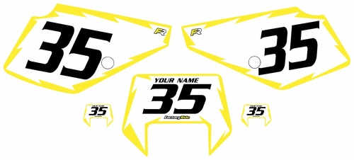 1990-2001 Suzuki DR350 Pre-Printed Backgrounds White - Yellow Shock Series by FactoryRide