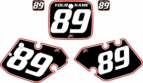 1989-1990 Yamaha YZ250 Custom Pre-Printed Background Black - Red Pro Pinstripe by Factory Ride