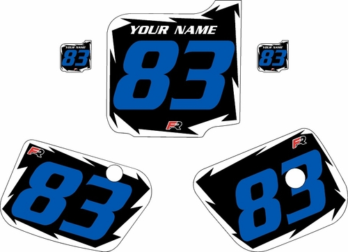 1983 Husqvarna CR250 Pre-Printed Backgrounds Black - White Shock - Blue Numbers by FactoryRide