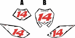 2017 Beta 125 RR-S Pre-Printed Backgrounds White - Black Shock - Red Numbers by FactoryRide