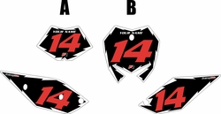 2017 Beta 125 RR-S Pre-Printed Backgrounds Black - White Shock - Red Numbers by FactoryRide