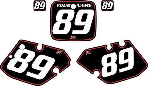 1989-1990 Yamaha YZ250 Custom Pre-Printed Black Background - Red Pinstripe by Factory Ride