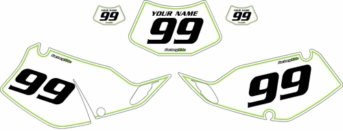 1994-1996 Kawasaki KLX250 White Pre-Printed Backgrounds - Green Pinstripe by FactoryRide