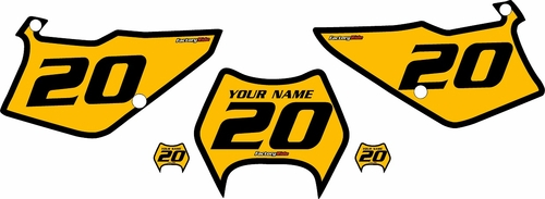 1995-2006 Kawasaki KDX200 Custom Pre-Printed Yellow Background - Black Bold Pinstripe by Factory Ride