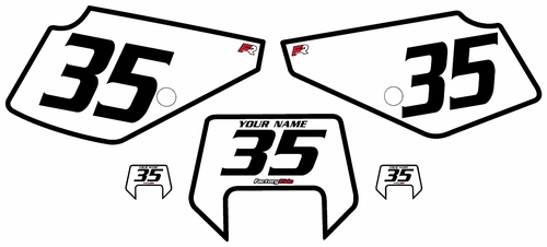 1990-2001 Suzuki DR350 White Pre-Printed Backgrounds - Black Bold Pinstripe by Factory Ride