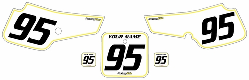 1995-1999 Suzuki RM80 Pre-Printed Backgrounds White - Yellow Pinstripe by FactoryRide