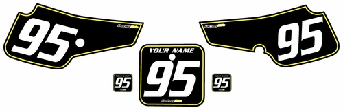 1995-1999 Suzuki RM80 Pre-Printed Backgrounds Black - Yellow Pinstripe by FactoryRide