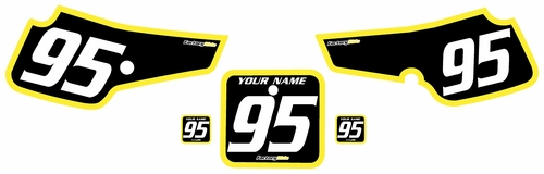 1995-1999 Suzuki RM80 Pre-Printed Backgrounds Black - Yellow Bold Pinstripe by FactoryRide