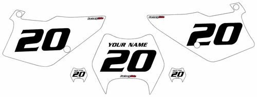 1997-2005 Kawasaki KDX220 White Pre-Printed Backgrounds - Black Numbers by FactoryRide
