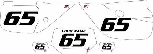 1992-2009 Honda XR650L White Pre-Printed Backgrounds - Black Numbers by Factory Ride