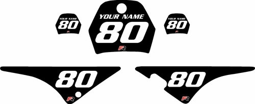 1996-2013 Yamaha PW80 Black Pre-Printed Background - White Numbers by Factory Ride