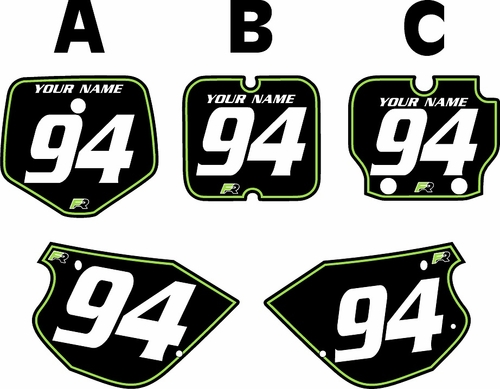 1991-1997 Kawasaki KX80 Pre-Printed Backgrounds Black - Green Pinstripe by FactoryRide