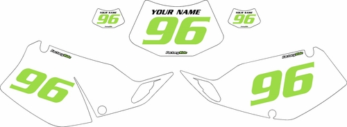 1994-1996 Kawasaki KLX250 White Pre-Printed Backgrounds - Green Numbers by FactoryRide
