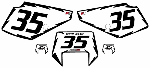1990-2001 Suzuki DR350 White Pre-Printed Backgrounds - Black Shock Series by Factory Ride
