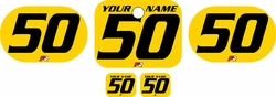 <B>Fits Honda QR50 1983-2000 Pre-Printed Backgrounds Yellow - Black Numbers by FactoryRide