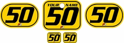 <B>Fits Honda QR50 1983-2000 Pre-Printed Backgrounds Yellow - Black Pinstripe by FactoryRide