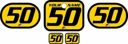 Fits Honda QR50 1983-2000 Pre-Printed Backgrounds Yellow - Black Bold Pinstripe by FactoryRide